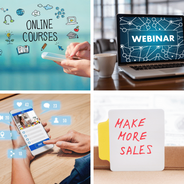 Leverage online courses, webinars, affiliate income and influencer marketing.